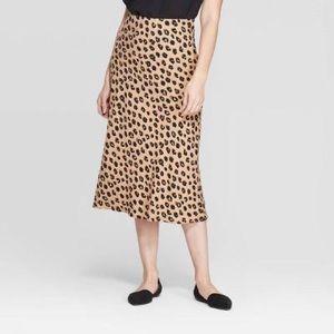 A New Day Leopard Cheetah Midi Skirt Medium Target